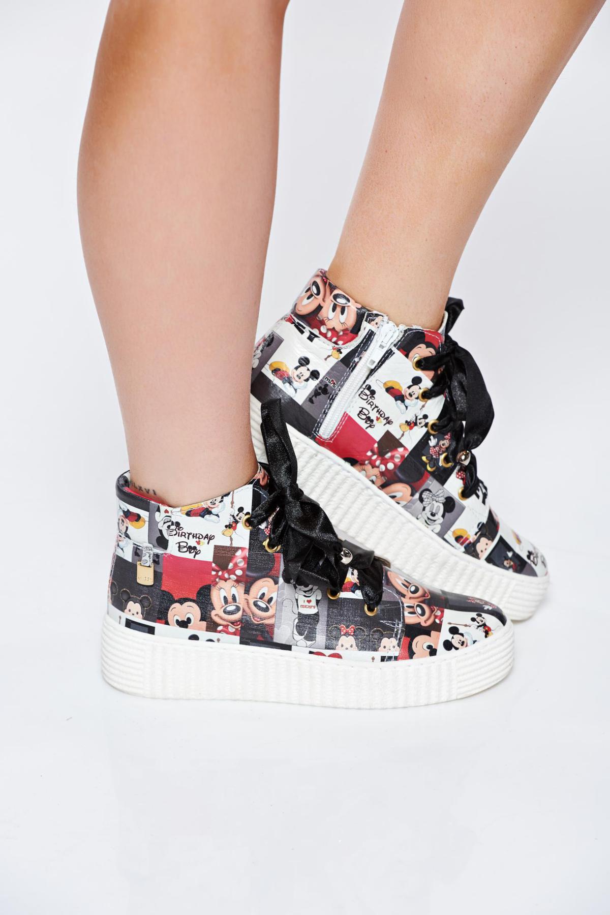 Fekete MissQ női sport cipő borbol fűzővel köthető meg nyomtatott mintával ad51d61dc6